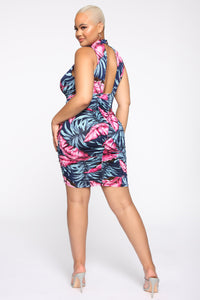Adventures With You Tropical Mini Dress - Navy/Combo
