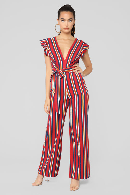 Autumn Stripe Jumpsuit - Ruby Combo