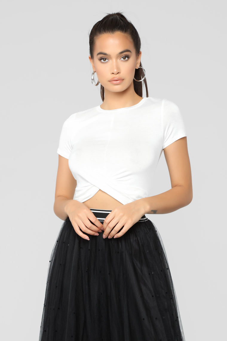 Hailey Front Twist Cropped Top - OffWhite