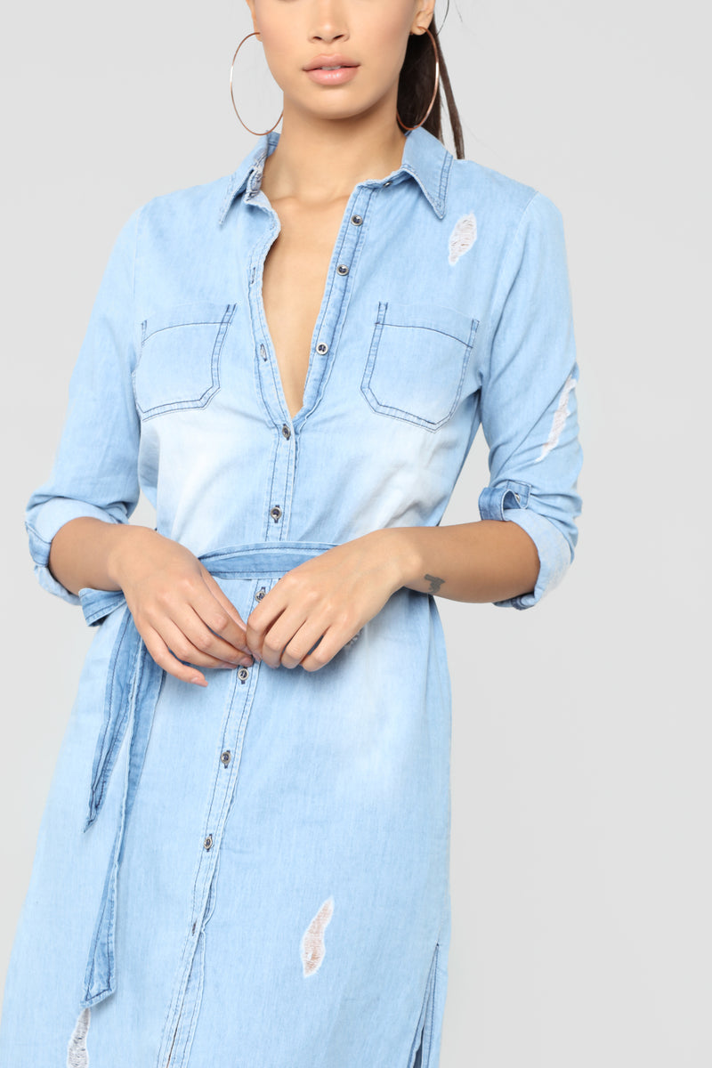A Little Jealous Distressed Dress - Light Blue Wash