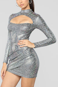 Lia Cut Out Dress - Sliver