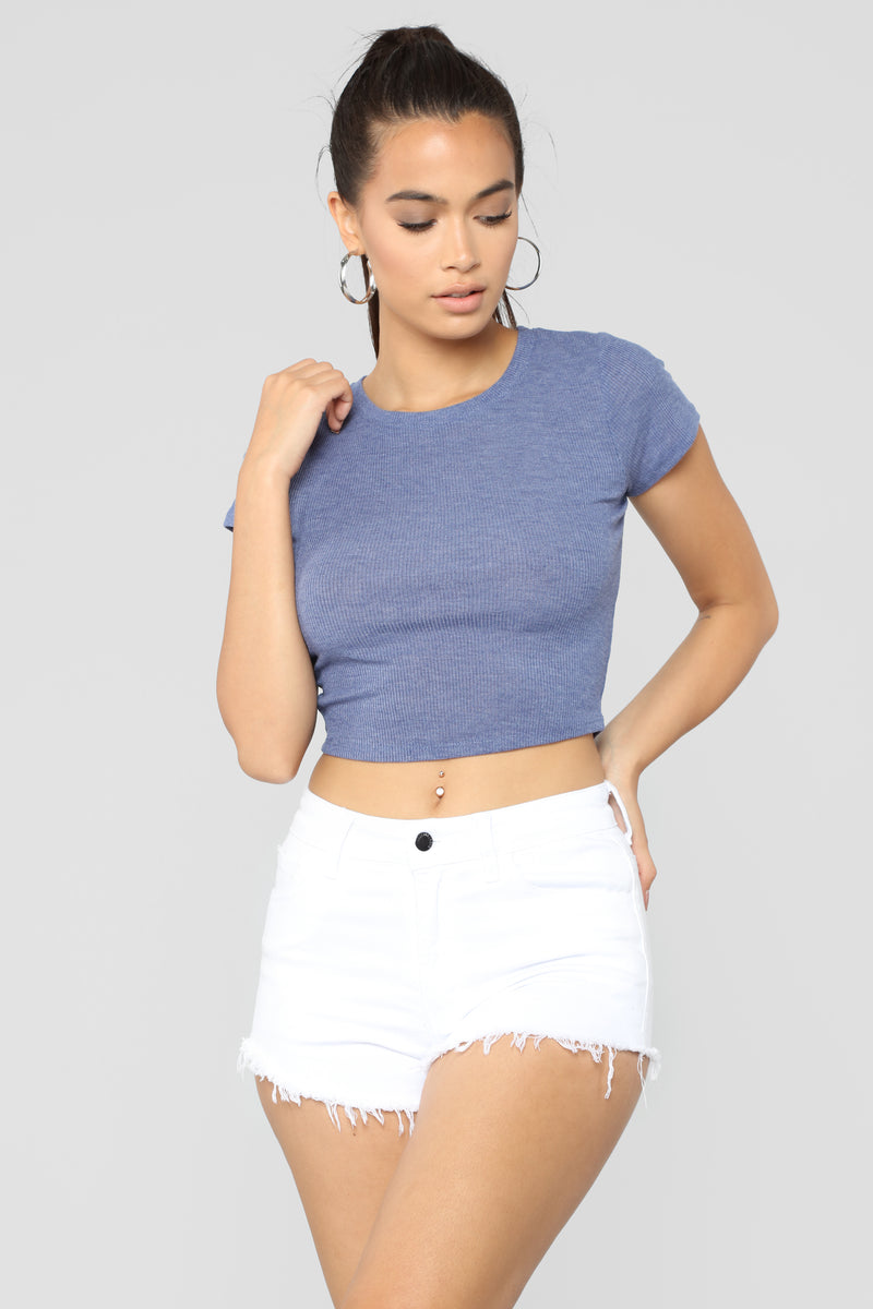 Time For A Change Crop Top - Blue Navy