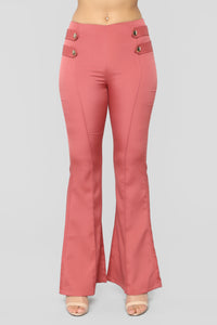 Not Yo Problem Bell Bottom Pants - Mauve
