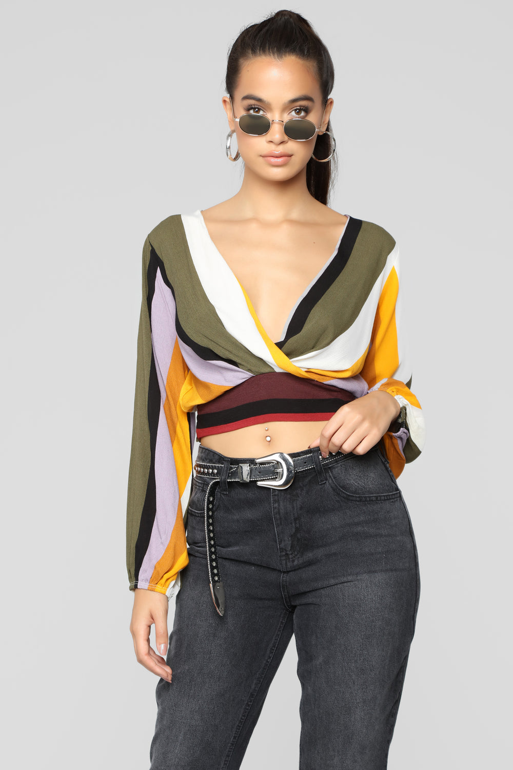 This Is My Jam Stripe Top - Olive