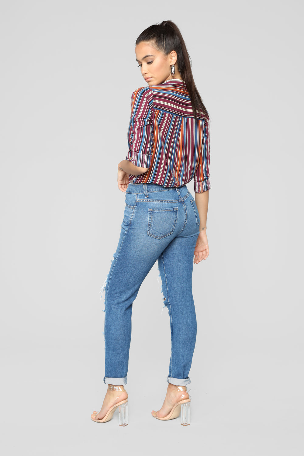 Casual Lover Collared Stripe Top - MultiColor