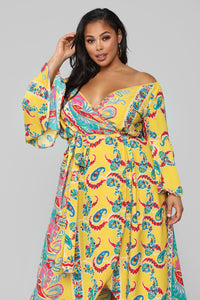 Bored Of You Bell Sleeve Dress - Mustard Angle 2