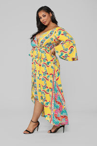 Bored Of You Bell Sleeve Dress - Mustard Angle 3