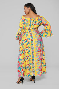Bored Of You Bell Sleeve Dress - Mustard