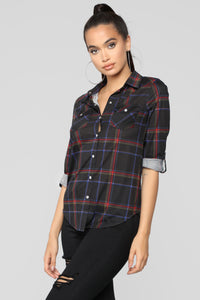 Lounge Affair Collared Plaid Top - Black/Red
