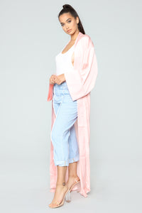 So Lush Satin Robe - Pink
