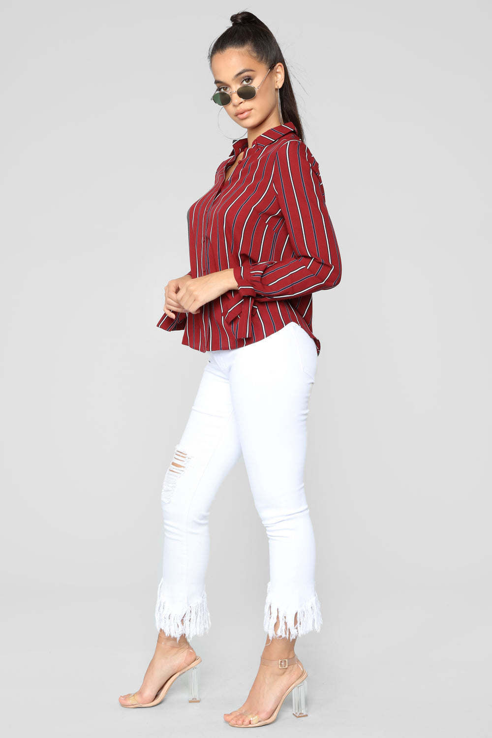 Yaretza Striped Top - Burgundy