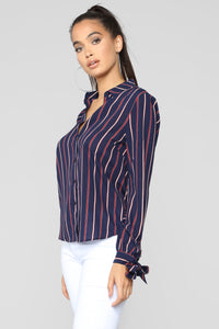 Yaretza Striped Top - Navy