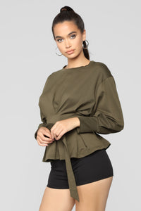 City Babe Belted Top - Olive