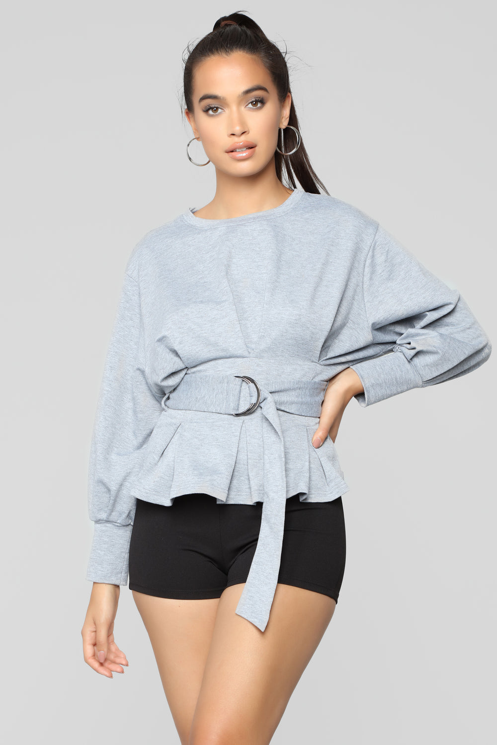 City Babe Belted Top - Heather Grey