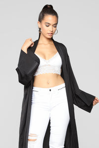 So Lush Satin Robe - Black