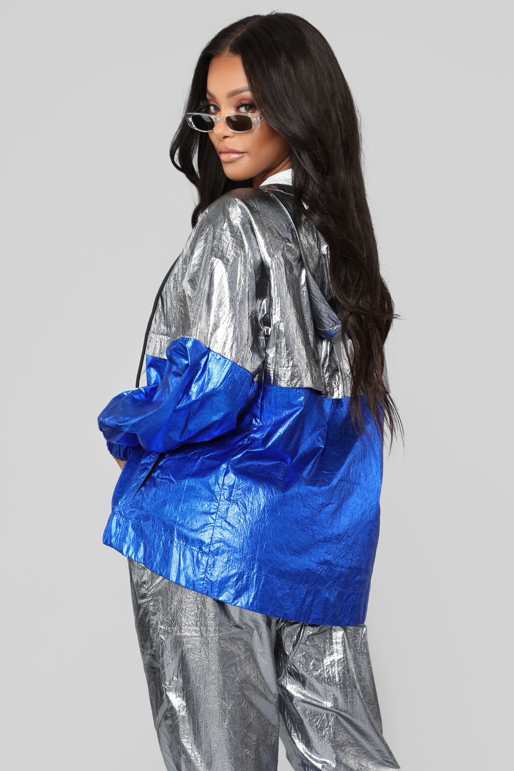 Evalyn Metallic Windbreaker - Grey/Blue