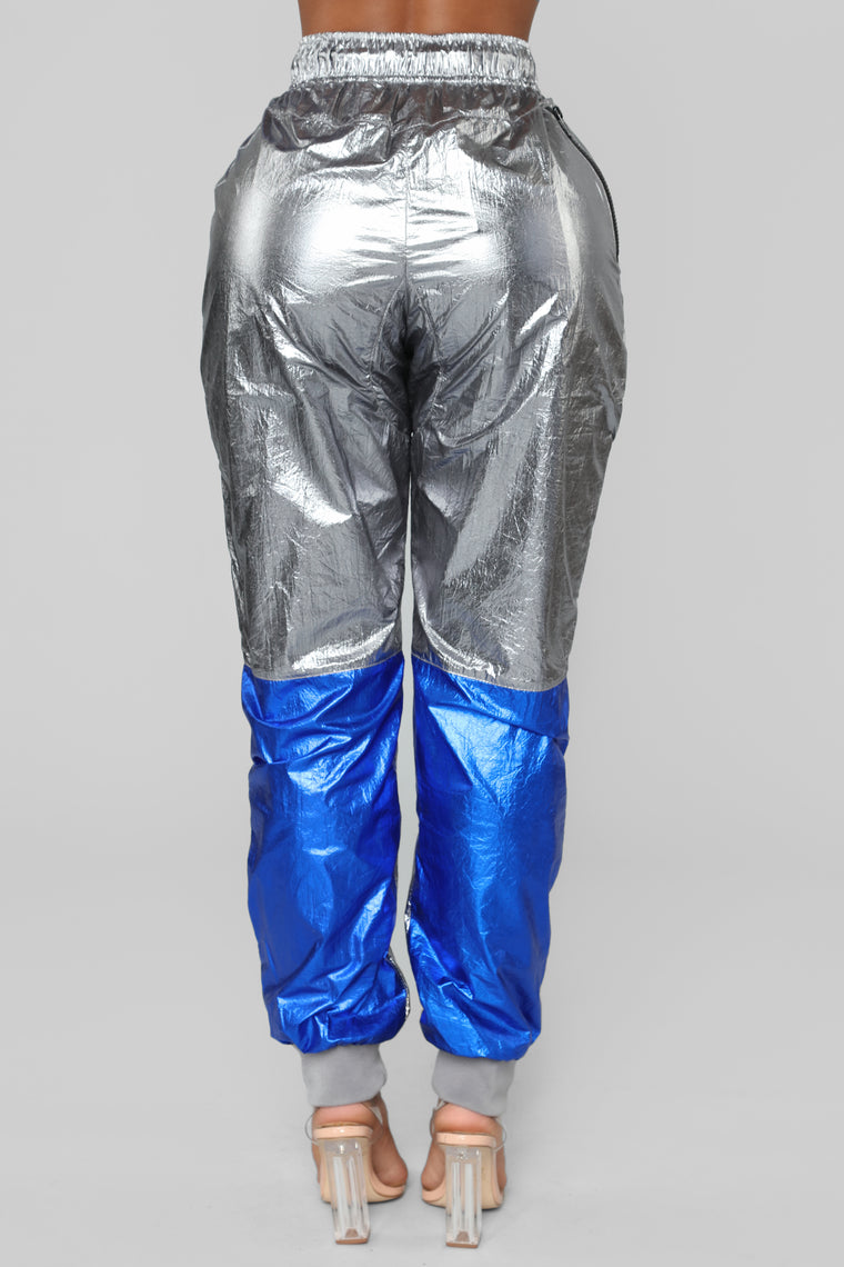 Evalyn Metallic Joggers - Grey/Blue