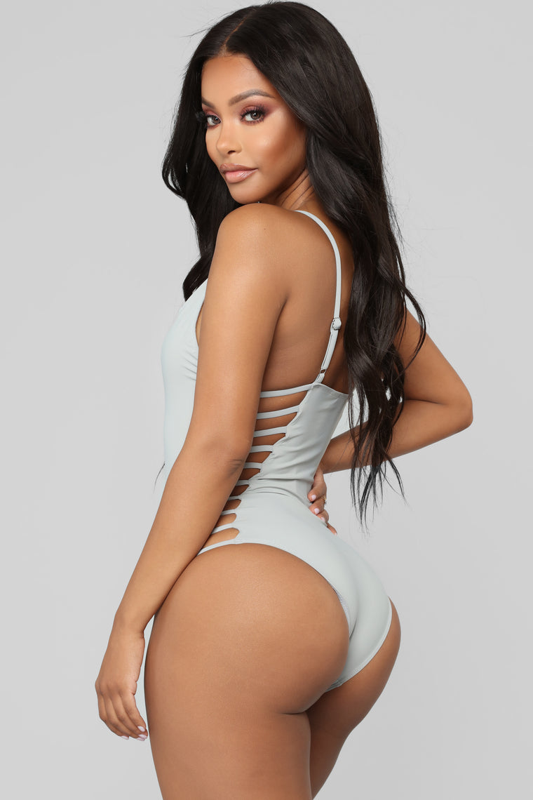 Snake Bite Cut Out Swimsuit - Grey