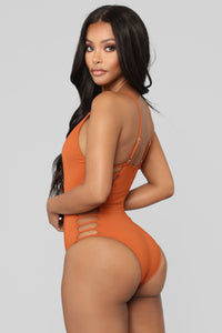 Snake Bite Cut Out Swimsuit - Rust