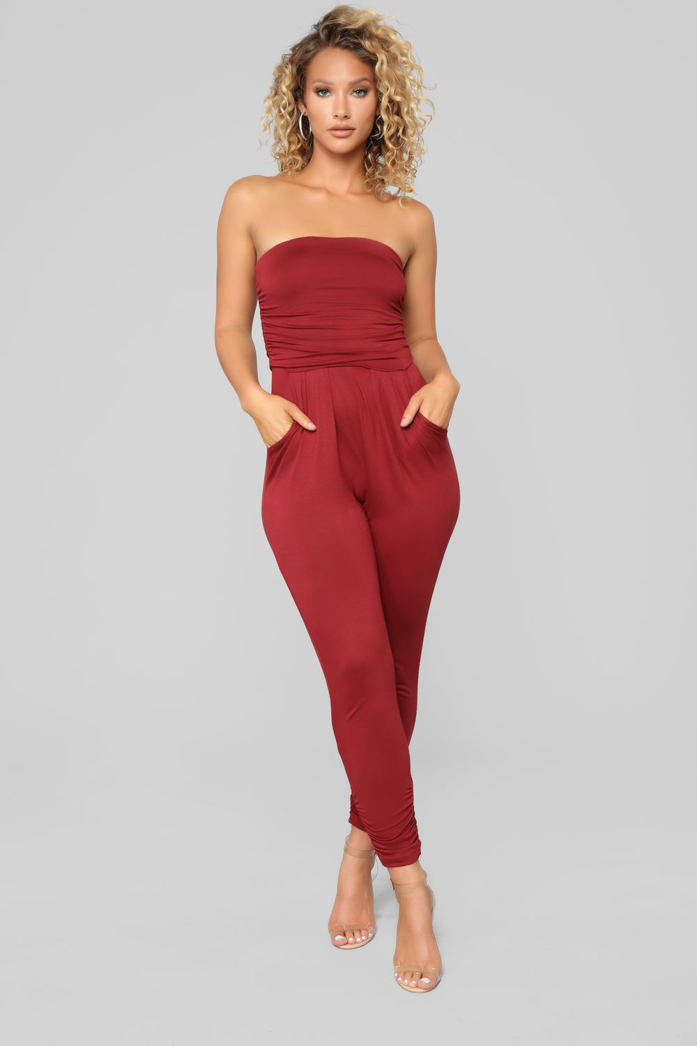 Isabelle Tube Jumpsuit - Burgundy