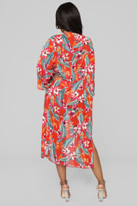 Waiting For Summer Kimono - Red/Combo