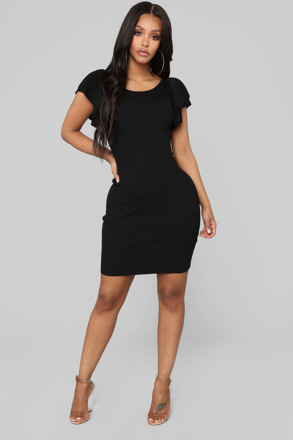 Maria Ruffle Sweater Dress - Black