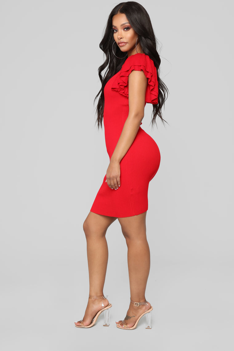 Maria Ruffle Sweater Dress - Red