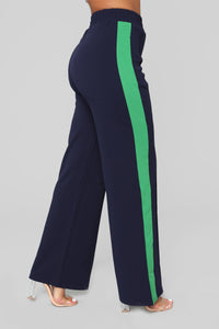 Down The Side Stripe Pants - Navy Green