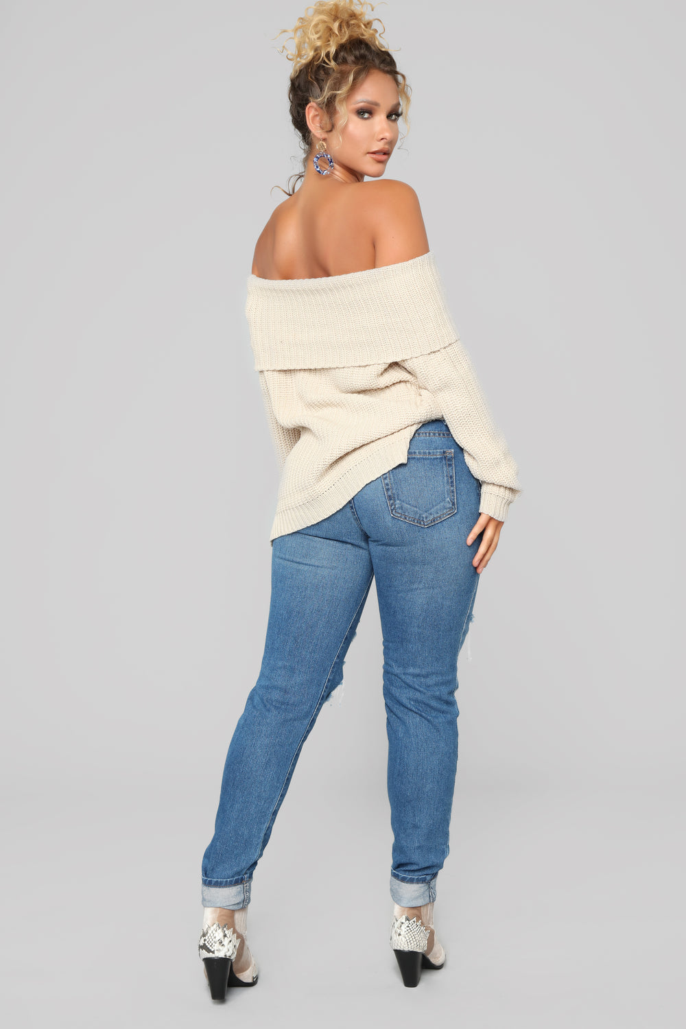 Jane Off Shoulder Sweater - Oatmeal