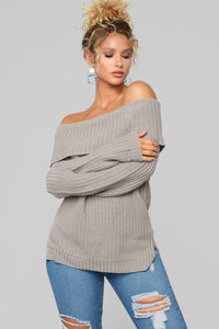 Jane Off Shoulder Sweater - Grey