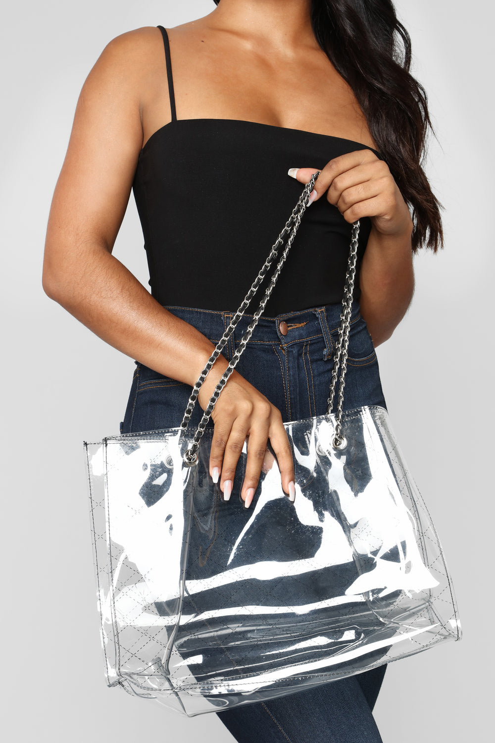 Clear And Solid Minded Bag - Black