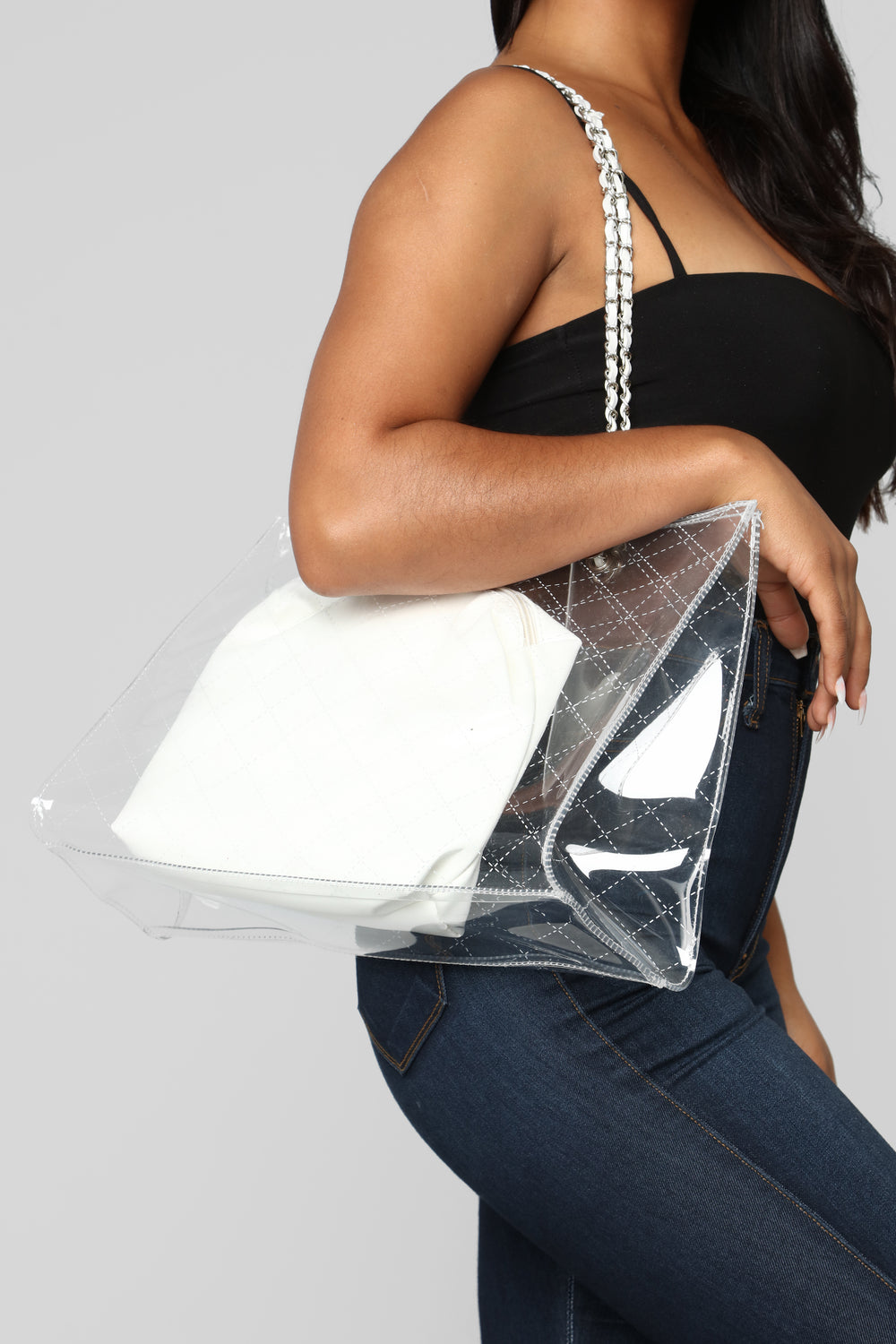 Clear And Solid Minded Bag - White