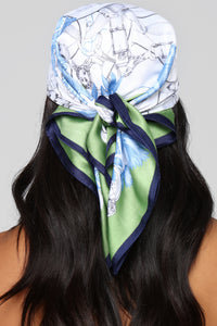 Buckle Up Head Scarf - White/Blue