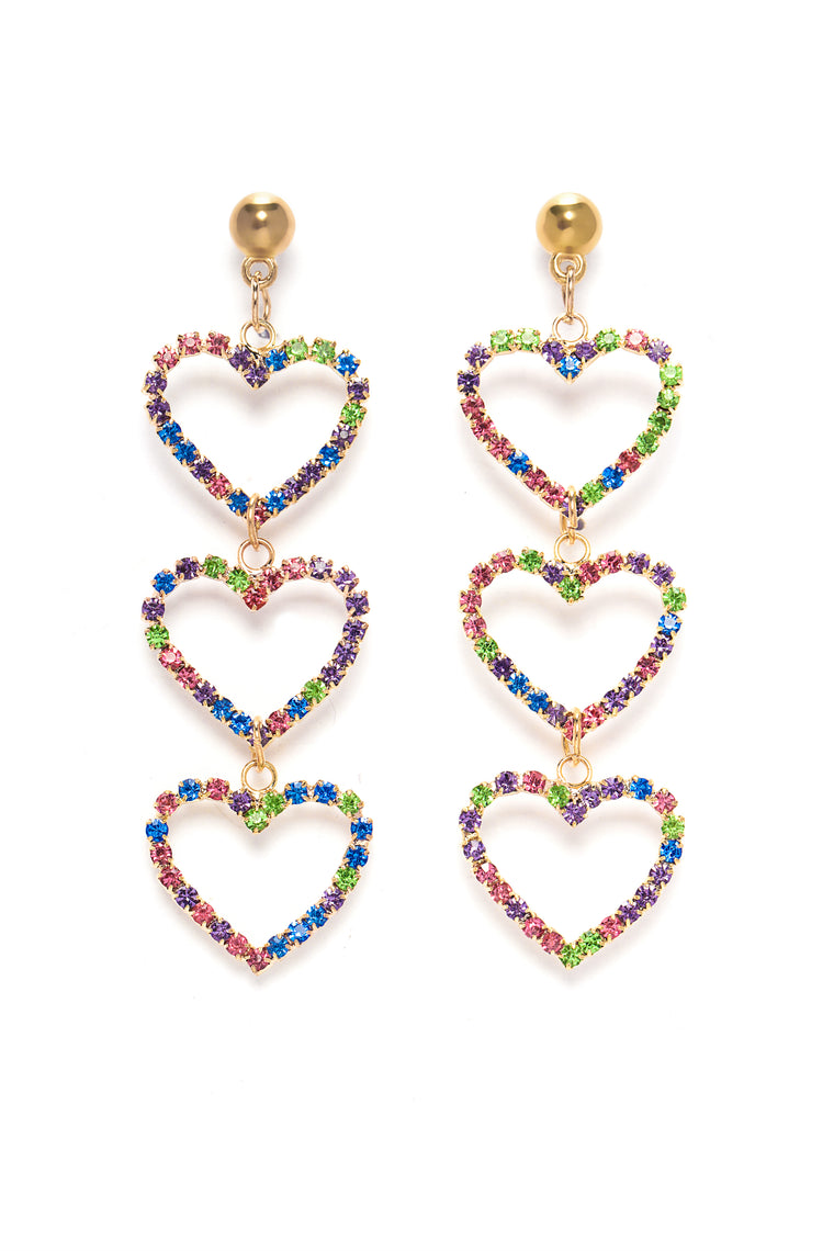 Heart Holder Earrings   Gold/Multi by Fashion Nova