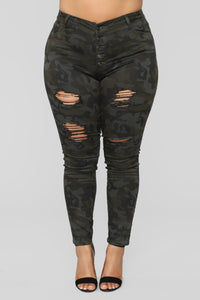 Boot Camp Babe Distressed Jeans - Camo