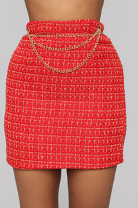 She's A Lady Chain Skirt - Red Angle 1