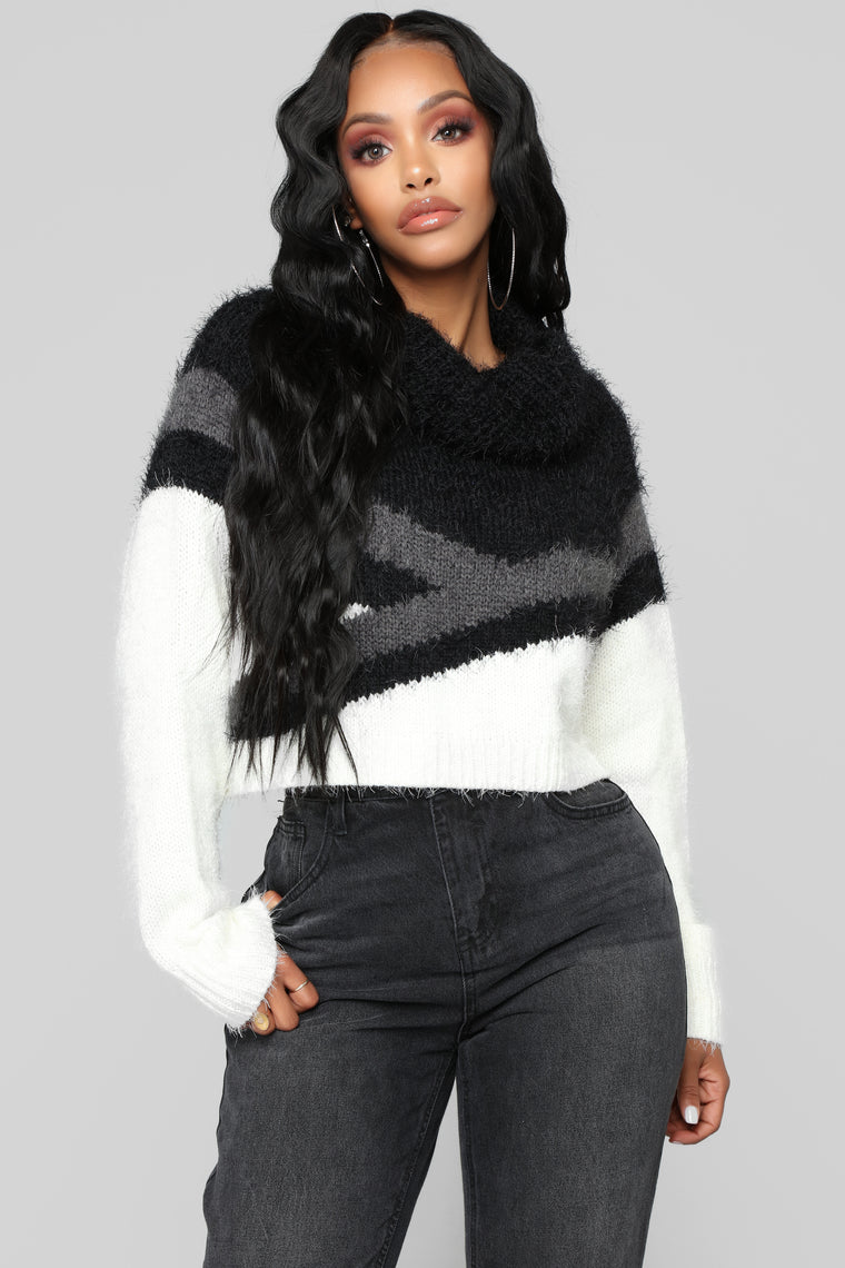 Block Party Cropped Sweater - Ivory/Combo