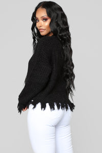 Rip Your Heart Out Distressed Sweater - Black