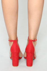That One Strap Heels - Red