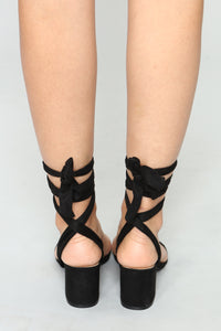 So Tied Of You Sandals - Black