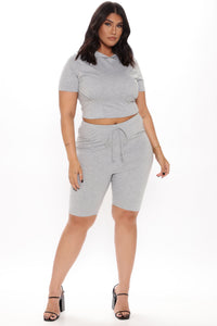 Of Corset Does Biker Short Set - Heather Grey Angle 4
