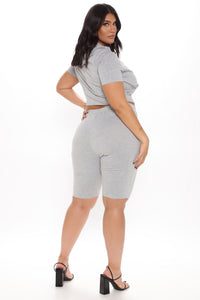 Of Corset Does Biker Short Set - Heather Grey Angle 6