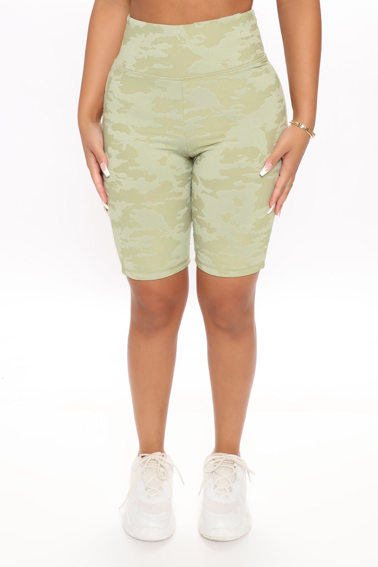 At Attention Embossed Camo Active Biker Shorts - Sage