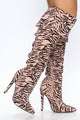 Walk On The Wild Side Heeled Boot - Nude/combo