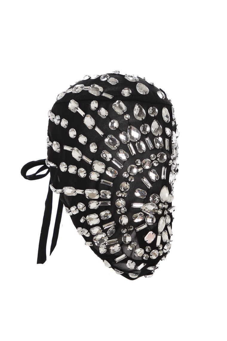 Full Coverage Rhinestone Face Cover - Black