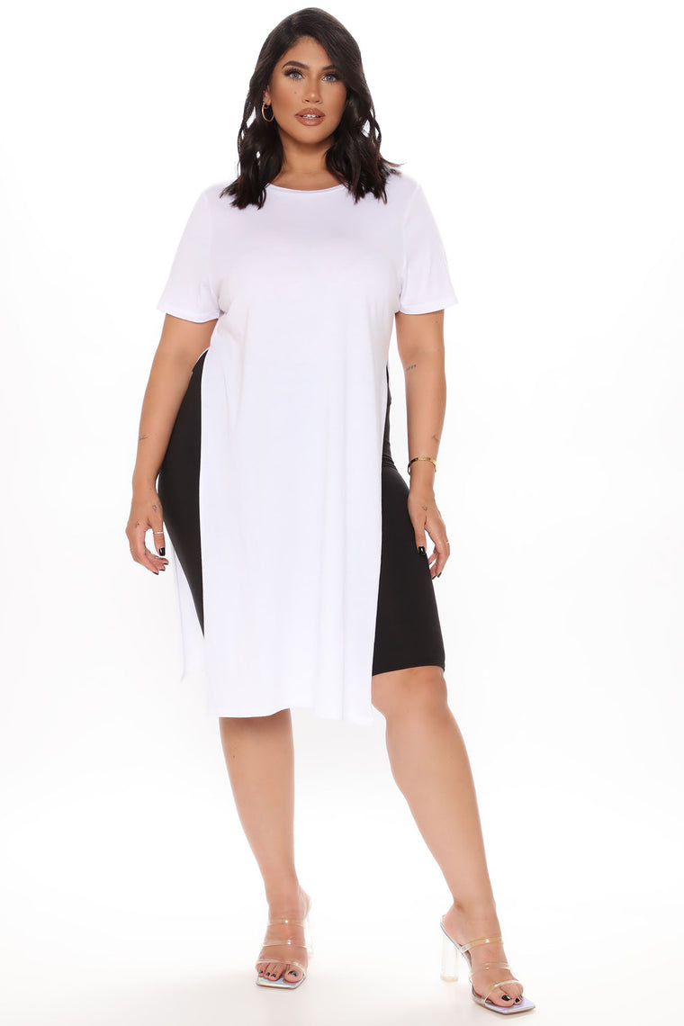 Hips & Slits Tunic Top - White