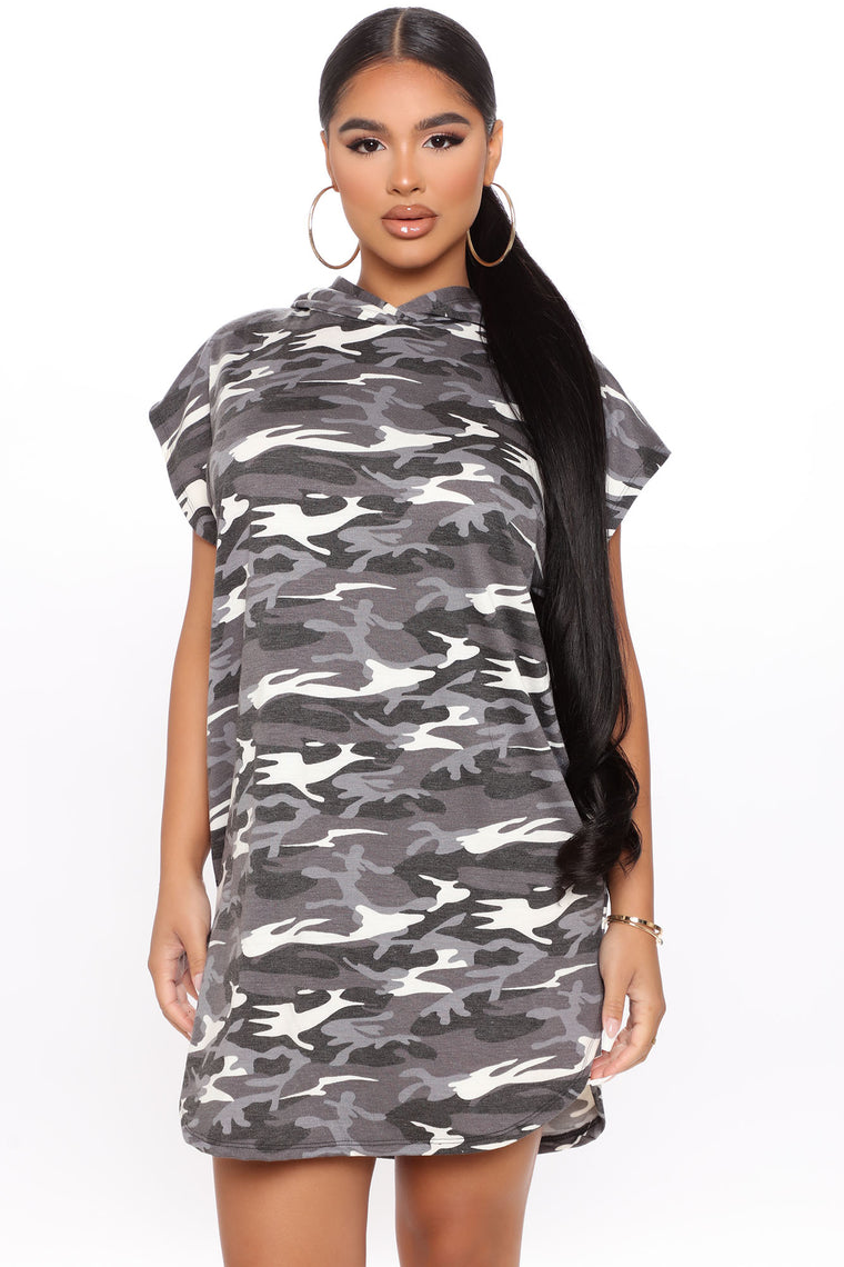 Grab and Go Hooded Tee Dress - Grey/combo