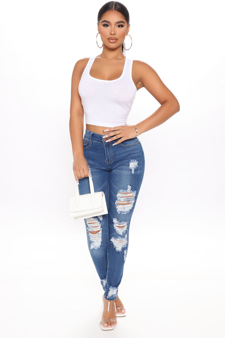 Reagan Mid Rise Skinny Jeans - Medium Blue Wash