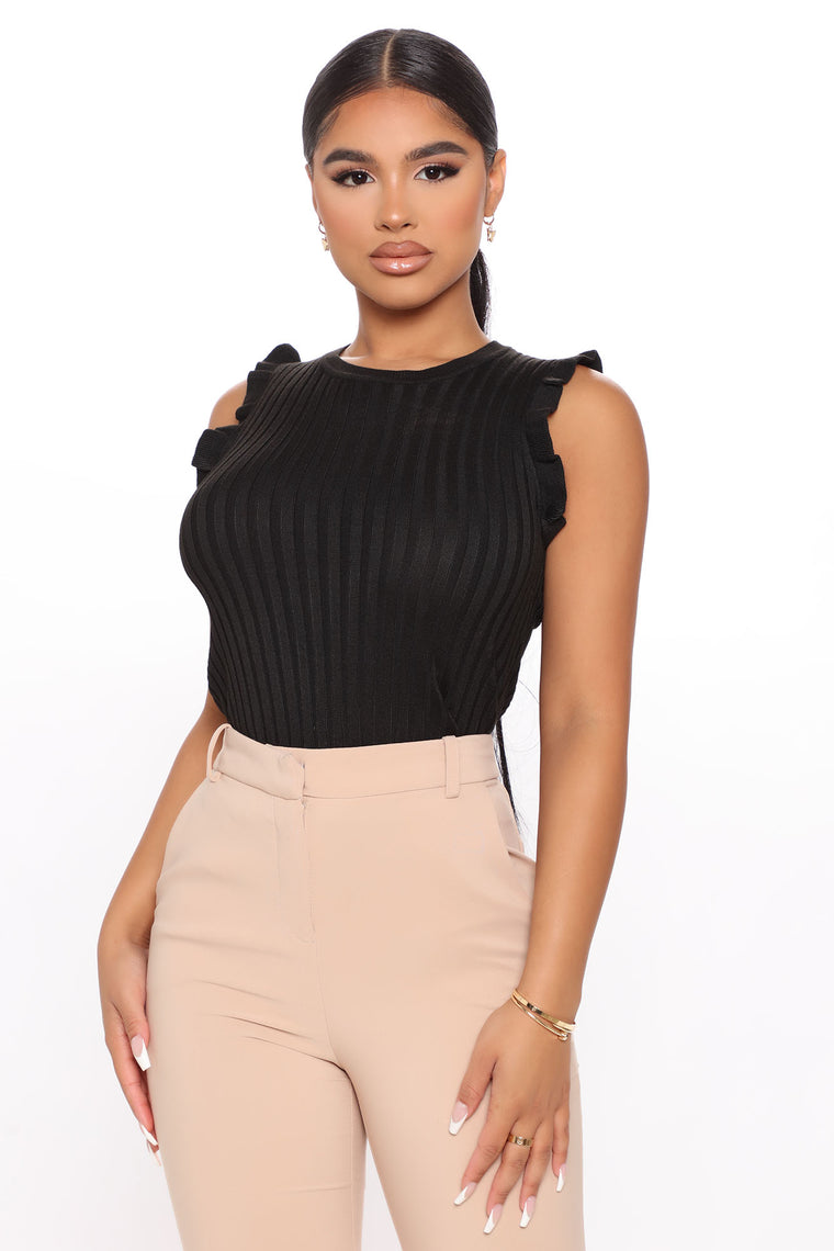 Feeling Edgy Ribbed Top - Black