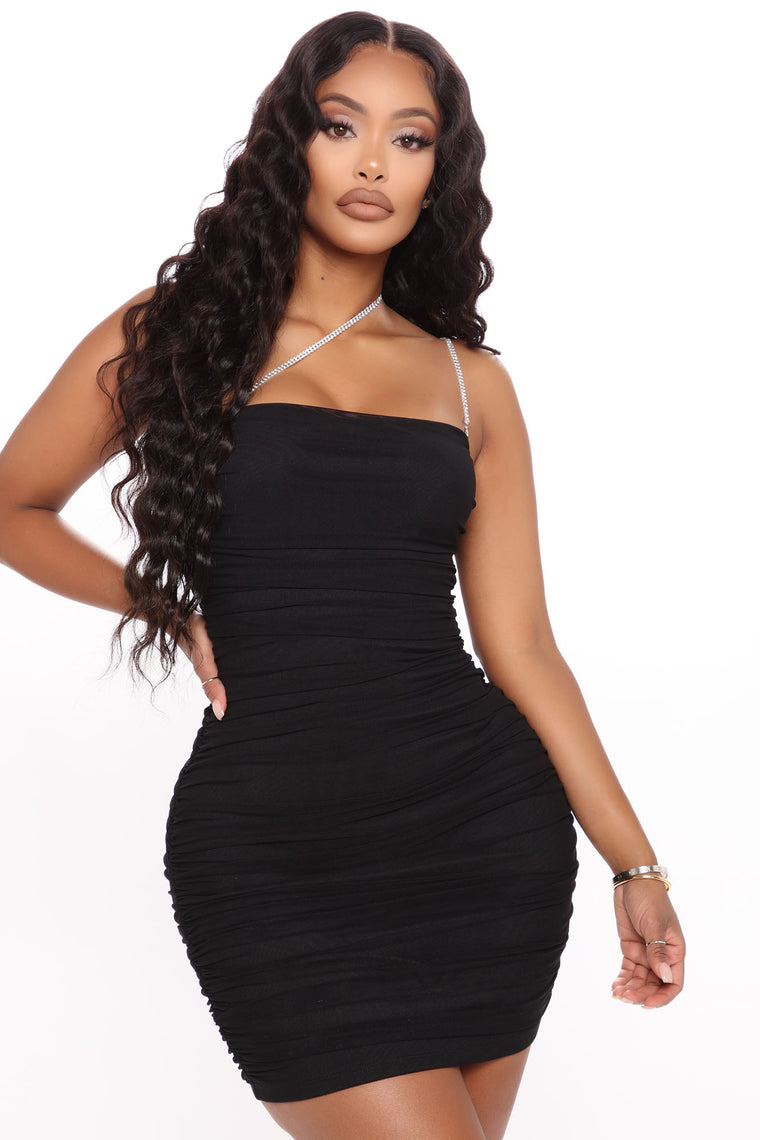 Center Of The Party Ruched Mini Dress - Black